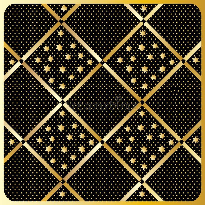 Gouden Diamond Checkered-patroonvector royalty-vrije illustratie