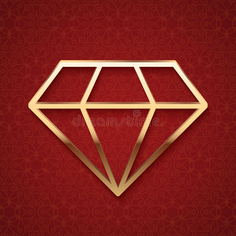Gouden Diamond Silhouette vector illustratie