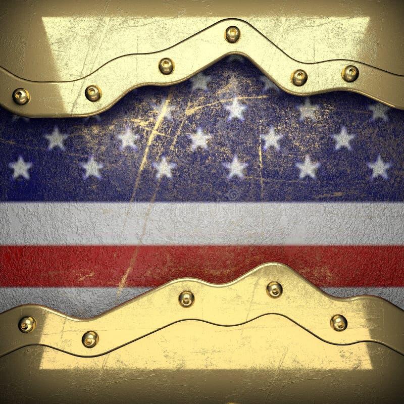 Gouden die achtergrond aan de vlag van de V.S. wordt geschilderd vector illustratie