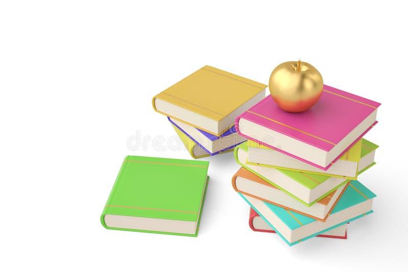 Gouden die appel op stapel van boek op witte achtergrond wordt geïsoleerd 3d ziek vector illustratie