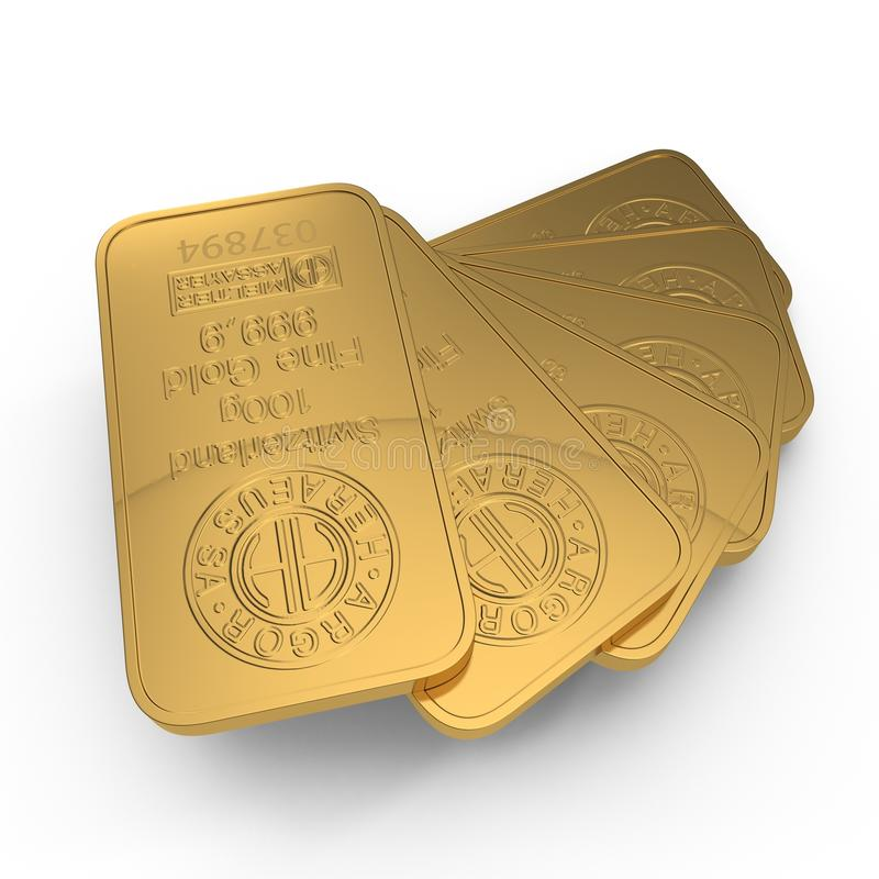 Gouden die bar 100g op wit wordt geïsoleerd 3D Illustratie vector illustratie