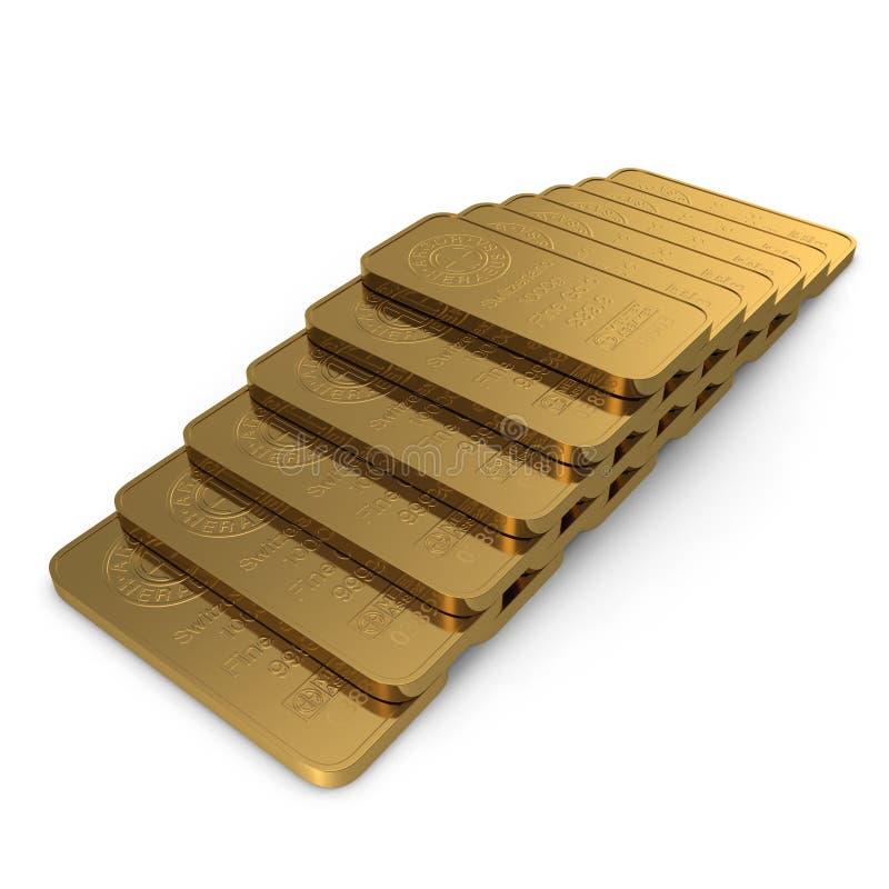 Gouden die bar 1000g op wit wordt geïsoleerd 3D Illustratie stock illustratie