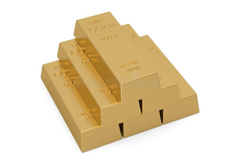 Gouden die baren op witte achtergrond worden ge?soleerd 3D Illustratie royalty-vrije illustratie