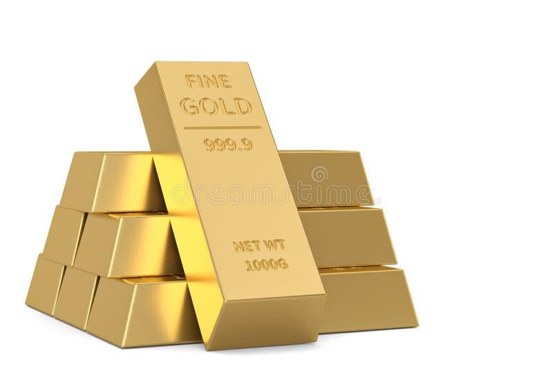 Gouden die baren op witte achtergrond worden ge?soleerd 3D Illustratie stock illustratie