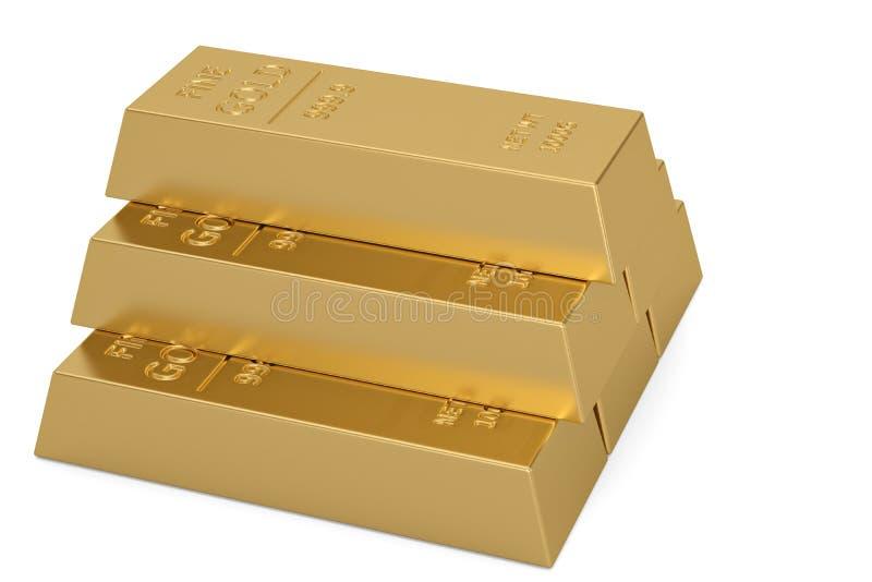 Gouden die baren op witte achtergrond worden ge?soleerd 3D Illustratie vector illustratie