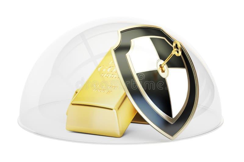Gouden die bars door glaskoepel worden behandeld Veiligheid en beschermingsconce stock illustratie