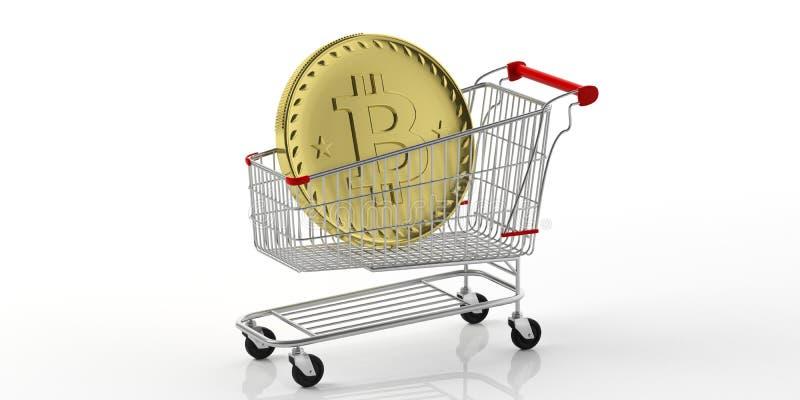 Gouden die bitcoin in een boodschappenwagentje, op witte achtergrond wordt geïsoleerd 3D Illustratie royalty-vrije illustratie