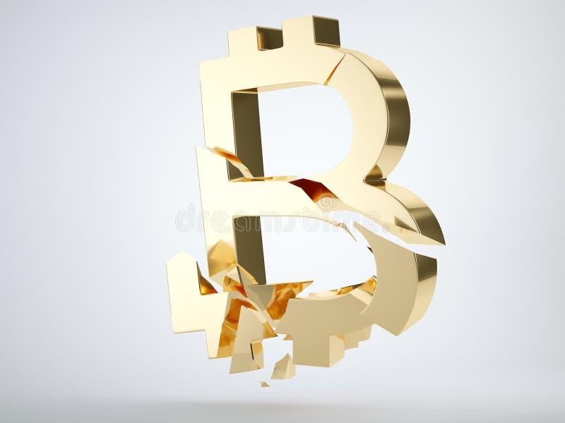Gouden die bitcoinsymbool op grijs wordt verbrijzeld en wordt gebroken stock illustratie