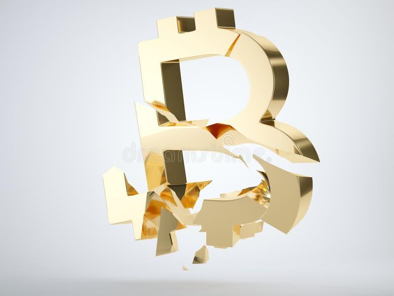 Gouden die bitcoinsymbool op grijs wordt verbrijzeld en wordt gebroken royalty-vrije illustratie