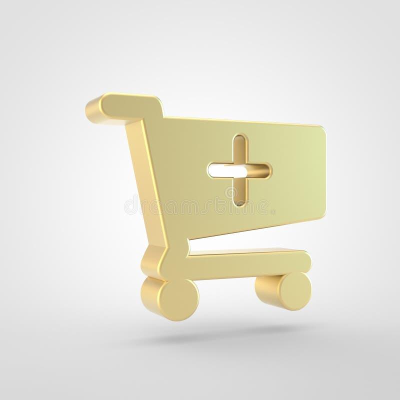 Gouden die boodschappenwagentje plus pictogram op witte achtergrond wordt geïsoleerd vector illustratie