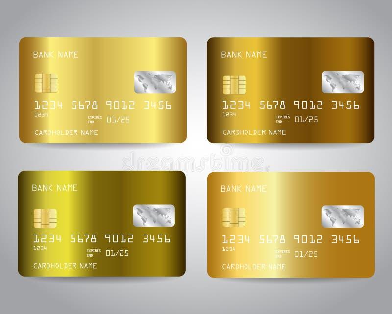 Gouden die creditcardsvector met kleurrijke abstracte gouden ontwerpachtergrond wordt geplaatst vector illustratie