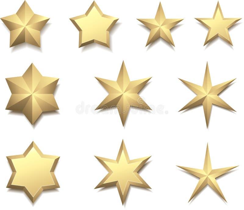 Gouden die 3d sterren op wit worden geïsoleerd royalty-vrije illustratie