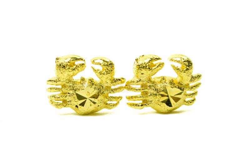 Gouden die de oorringsjuwelen van de tegenhangerkamee in krabvorm op whi wordt geïsoleerd royalty-vrije stock foto
