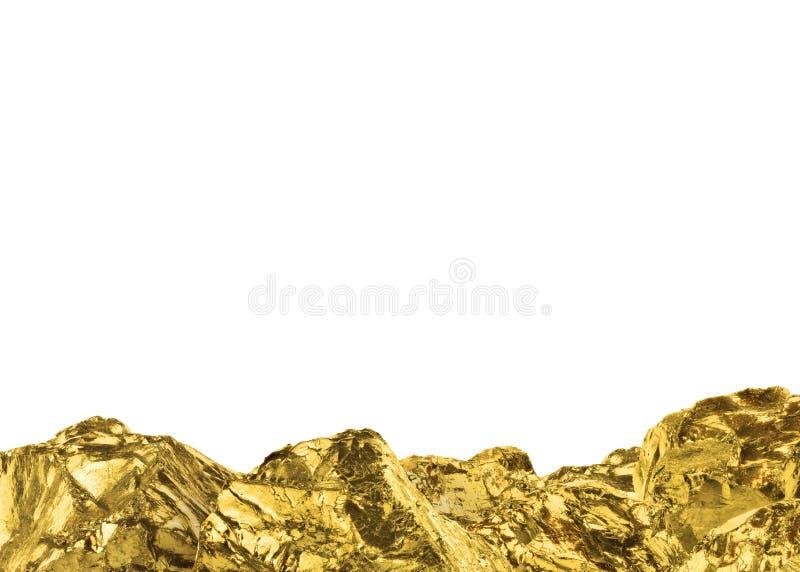 Gouden die goudklompjes op witte achtergrond worden geïsoleerd De lijn van gouden barsisolated met lege exemplaarruimte royalty-vrije stock fotografie