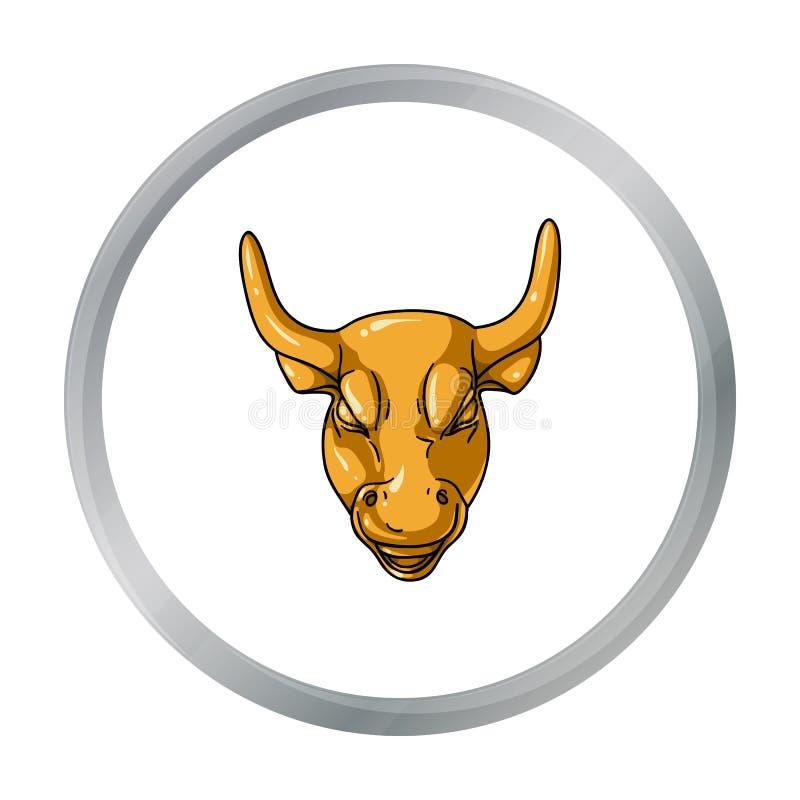 Gouden die het Laden Stierenpictogram in beeldverhaalstijl op witte achtergrond wordt geïsoleerd vector illustratie