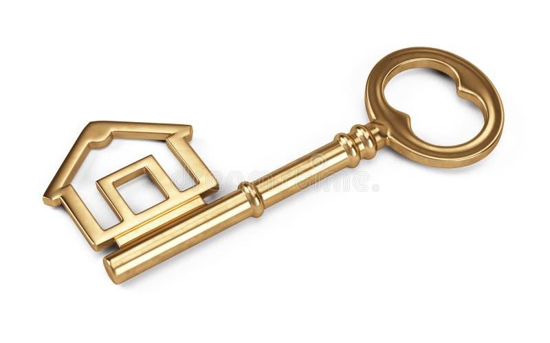 Gouden die Huis Kay op wit wordt geïsoleerd stock illustratie