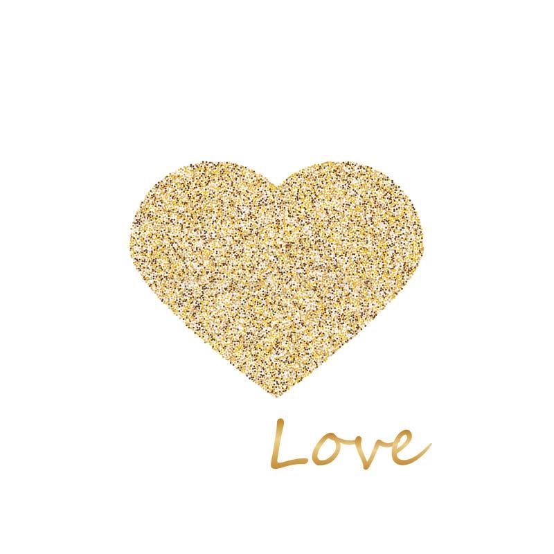 Gouden die kader in de vorm van een hart van gouden confettien op witte achtergrond wordt gemaakt stock fotografie