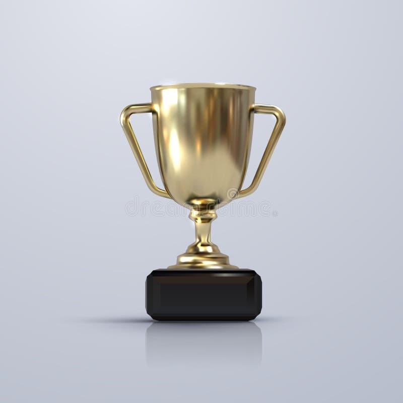 Gouden die kampioenskop op witte achtergrond wordt geïsoleerd stock afbeeldingen