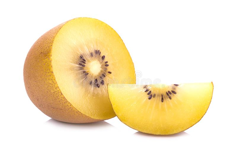 Gouden die kiwifruit op een witte achtergrond wordt geïsoleerd stock afbeeldingen