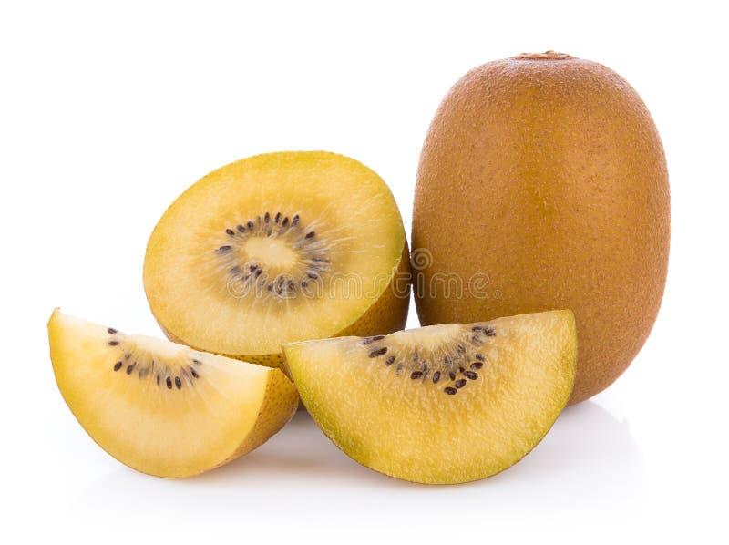 Gouden die kiwifruit op witte achtergrond wordt geïsoleerd royalty-vrije stock foto's
