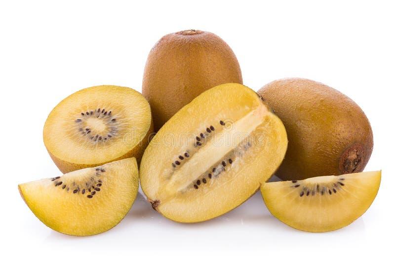 Gouden die kiwifruit op witte achtergrond wordt geïsoleerd stock foto's