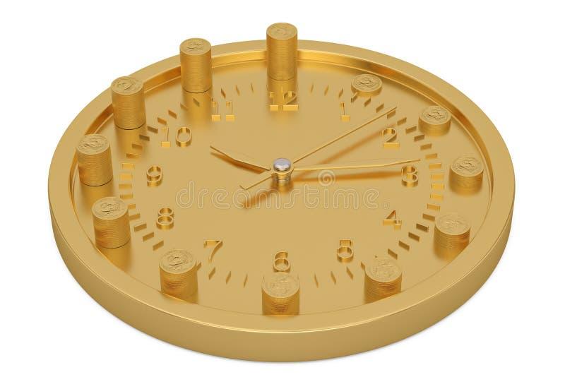 Gouden die klok en muntstukkenstapels op witte 3D illustratie worden geïsoleerd als achtergrond royalty-vrije stock foto's