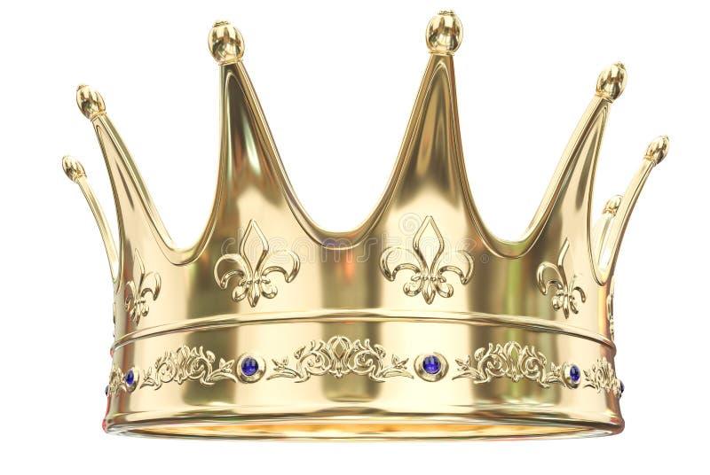 Gouden die kroon op witte achtergrond wordt geïsoleerd - het 3D Teruggeven royalty-vrije illustratie