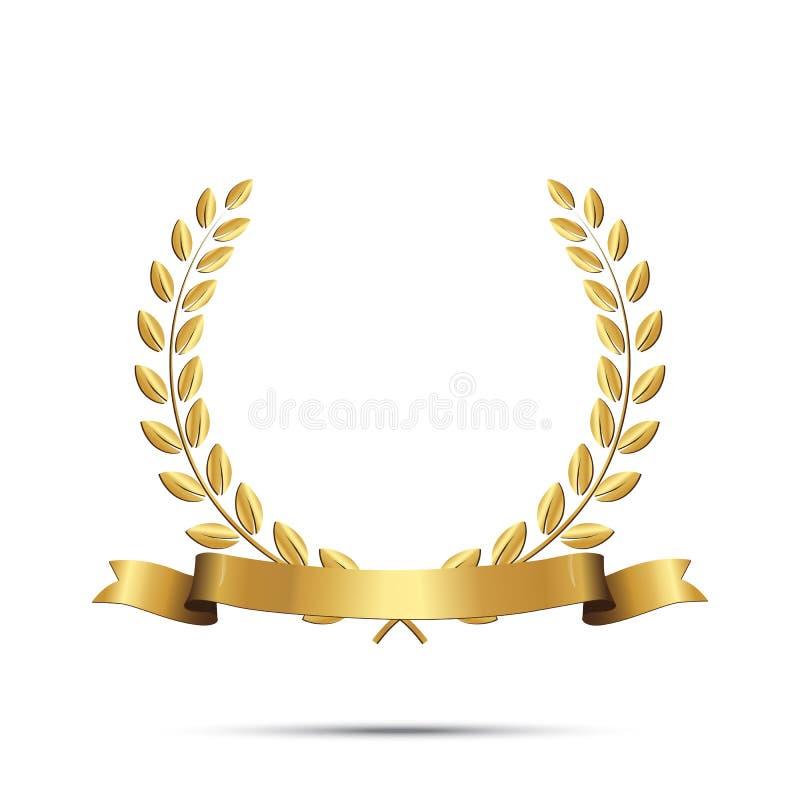 Gouden die lauwerkrans met lint op witte achtergrond wordt geïsoleerd Vector ontwerpelement royalty-vrije illustratie