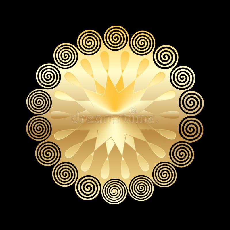 Gouden die mandala op donkere achtergrond wordt geïsoleerd De elementen van het ontwerp royalty-vrije illustratie