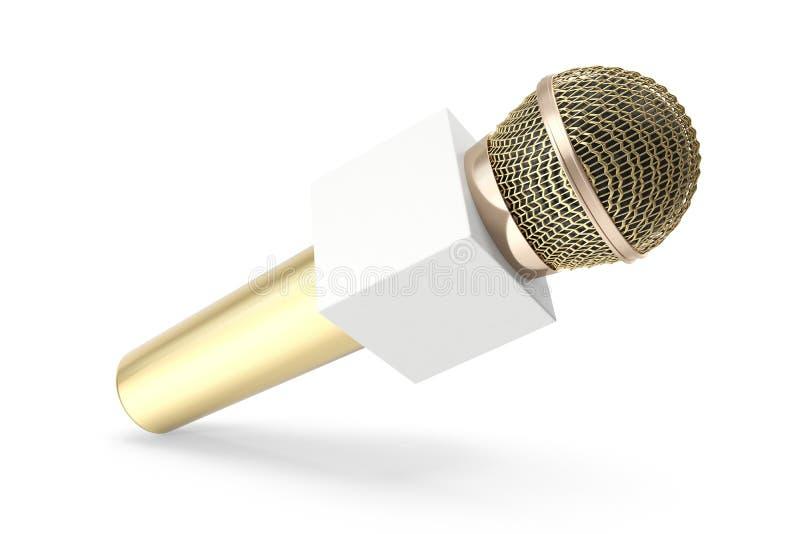 Gouden die microfoon op wit wordt geïsoleerd Karaoke of nieuwsconcept met het ruimtedoos 3d teruggeven royalty-vrije illustratie
