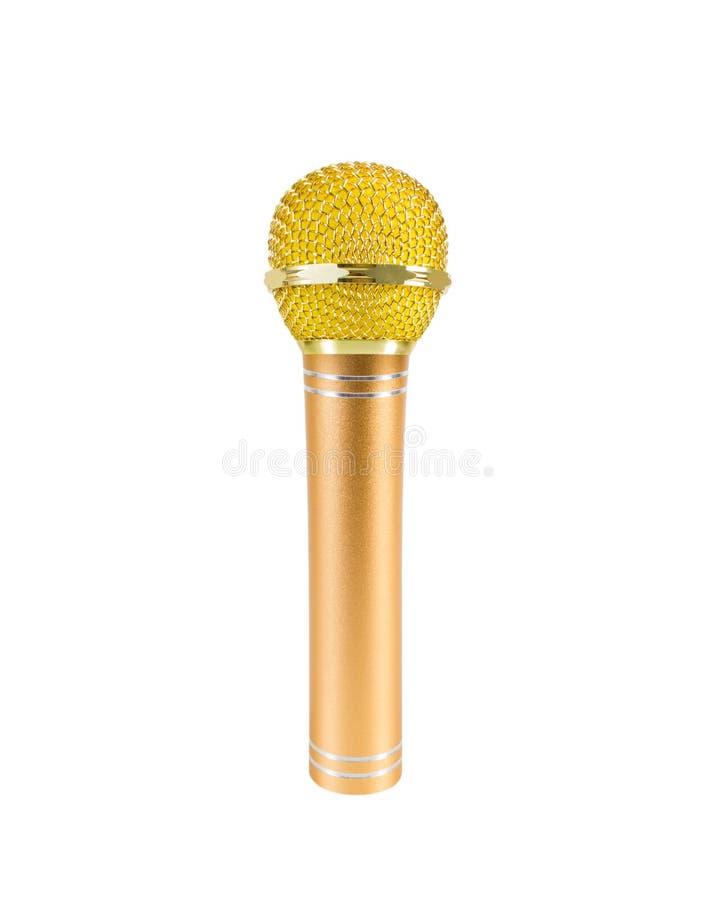 Gouden die microfoon op witte achtergrond wordt geïsoleerd stock afbeeldingen