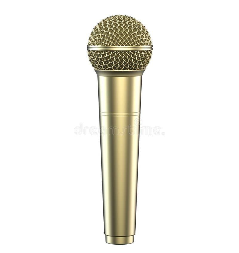 Gouden die microfoon, op witte achtergrond wordt geïsoleerd 3D Illustratie stock illustratie