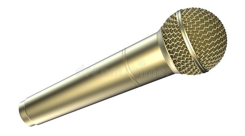 Gouden die microfoon, op witte achtergrond wordt geïsoleerd 3D Illustratie royalty-vrije illustratie