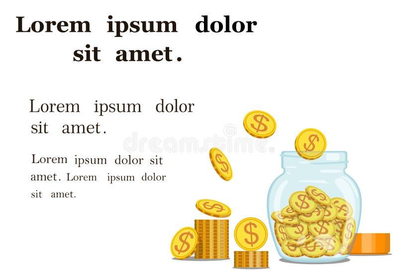 Gouden die muntstukken in een glaskruik worden opgeslagen Geld Vector illustratie vector illustratie