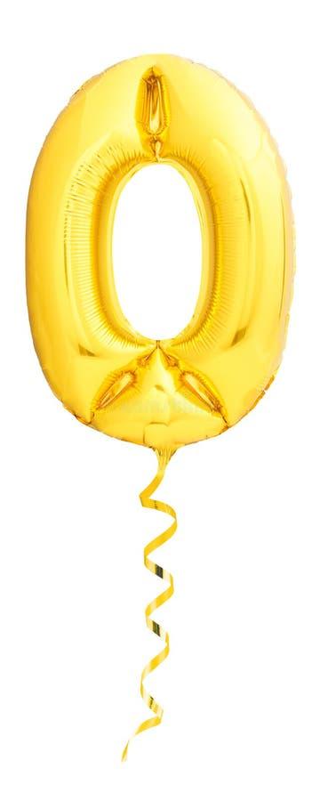 Gouden die nummer 0 van opblaasbare ballon met gouden die lint wordt gemaakt op wit wordt geïsoleerd stock foto's
