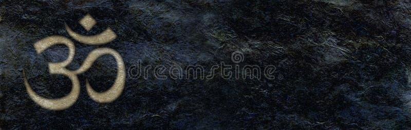 Gouden die Om op de ruwe zwarte achtergrond van de steenbanner wordt gegraveerd stock illustratie