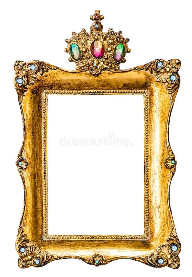 Gouden die omlijsting met halfedelstenen wordt verfraaid stock fotografie
