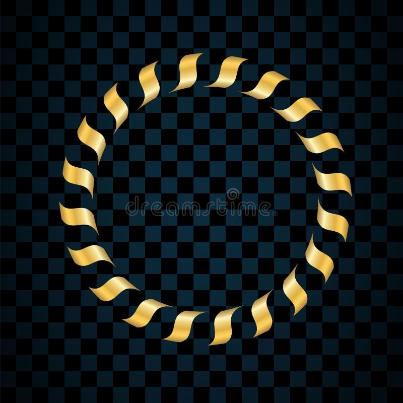 Gouden die ring op transparante zwarte achtergrond wordt geïsoleerd Gouden cirkelkader Decoratieronde Helder ontwerpelement voor stock illustratie