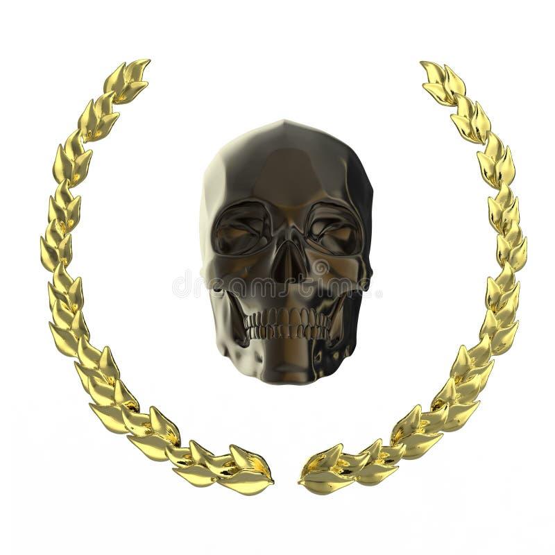 Gouden die schedel met de bladeren wordt omringd van de goldellaurier bij het zwarte teruggeven worden geïsoleerd als achtergrond royalty-vrije stock afbeeldingen