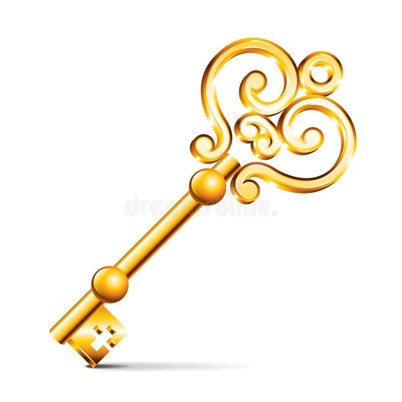 Gouden die sleutel op witte vector wordt geïsoleerd stock illustratie