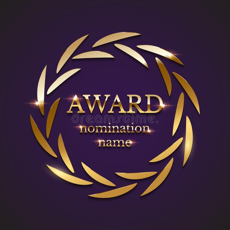 Gouden die toekenningsteken met cirkellauwerkrans op purpere achtergrond wordt geïsoleerd Vector illustratie royalty-vrije illustratie