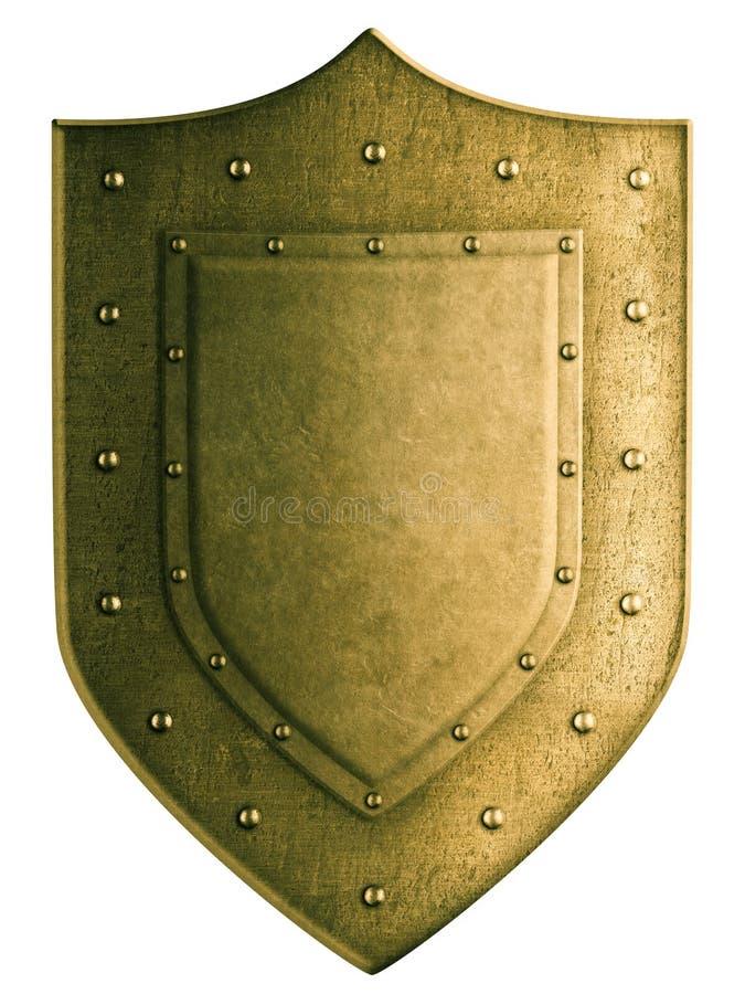 Gouden die wapenschildschild met het knippen wordt geïsoleerd royalty-vrije stock foto's