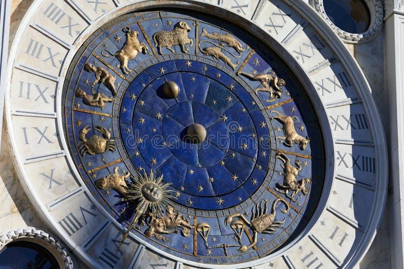 Gouden dierenriem astrologische klok, zonlicht en schaduw royalty-vrije stock afbeeldingen