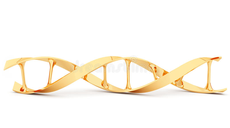Gouden DNA. 3d geïsoleerde illustratie. royalty-vrije illustratie