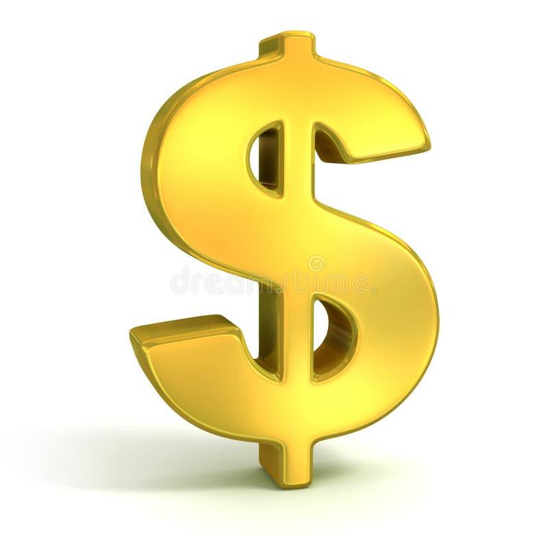 Gouden dollar 3d pictogram stock illustratie