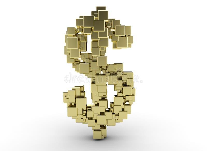 Gouden dollarteken royalty-vrije illustratie