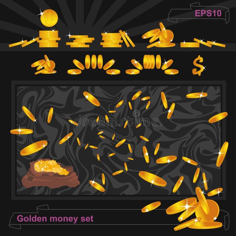 Gouden douche die, vliegende geldstroom aan een bos glanzen, achtergrond De reeks van de de muntstukkenwinnaar van het casinogeld stock illustratie
