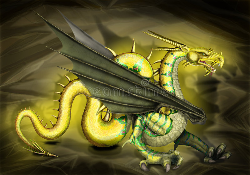 Gouden Draak stock illustratie