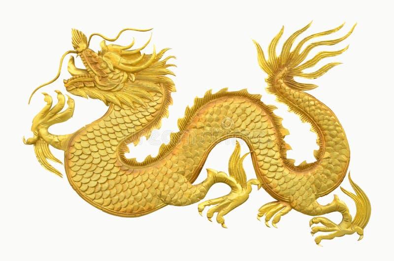 Gouden draak op witte achtergrond stock afbeelding