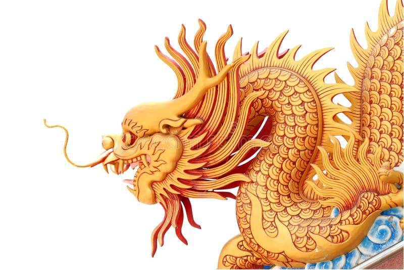 Gouden draakstandbeeld royalty-vrije illustratie